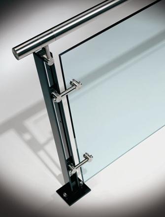 Ferric guardrail with glass